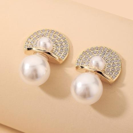 wholesale rhinestone fan-shaped pearl earrings Nihaojewelry NHNJ393031's discount tags