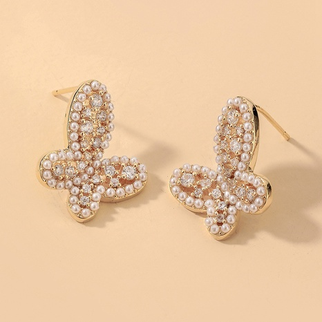wholesale rhinestone pearl butterfly earrings Nihaojewelry NHNJ393032's discount tags