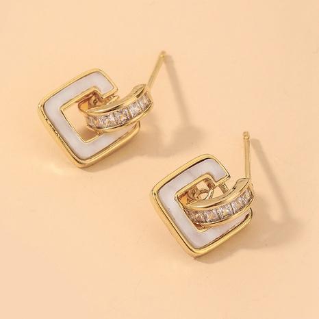 wholesale zircon square shell earrings Nihaojewelry NHNJ393033's discount tags
