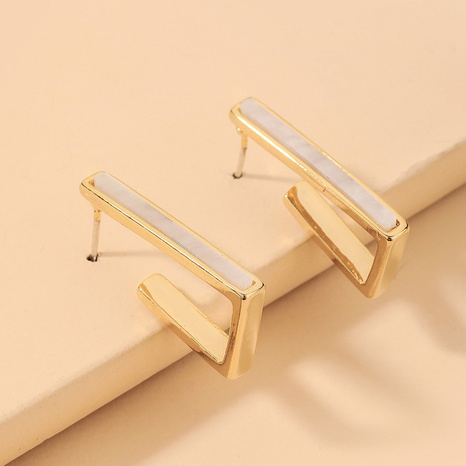 wholesale retro geometric shell square earrings Nihaojewelry NHNJ393034's discount tags