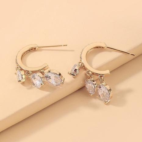 wholesale retro rhinestone pendant C-shaped earrings Nihaojewelry NHNJ393035's discount tags