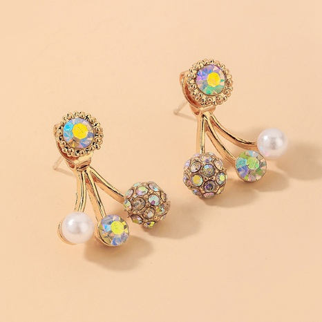 wholesale retro colorful rhinestone pearl earrings Nihaojewelry NHNJ393037's discount tags