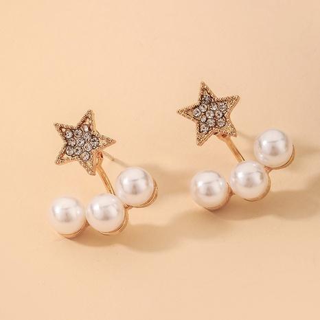 wholesale retro rhinestone star pearl earrings Nihaojewelry NHNJ393038's discount tags
