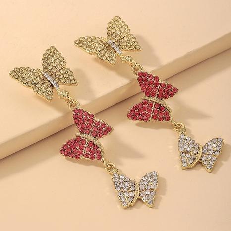 wholesale retro hit color full rhinestone butterfly long earrings Nihaojewelry NHNJ393039's discount tags