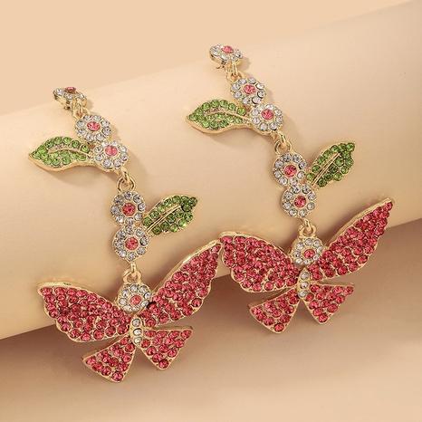 wholesale retro full rhinestone butterfly leaf long earrings Nihaojewelry NHNJ393040's discount tags