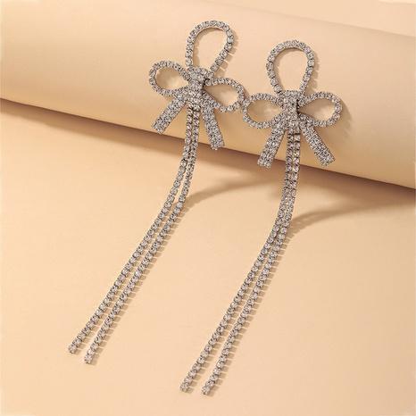 wholesale retro full rhinestone bow tassel earrings Nihaojewelry NHNJ393042's discount tags