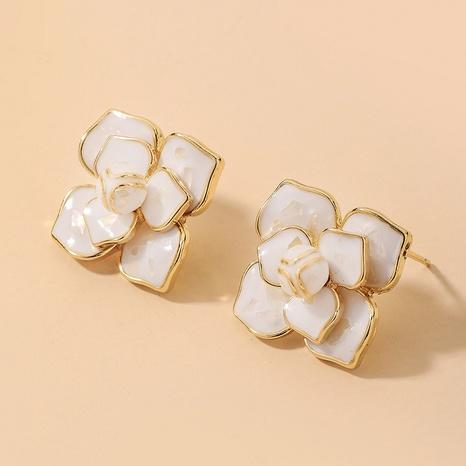 Wholesale Jewelry White Camellia Oil Drop Flower Earrings Nihaojewelry NHNJ393045's discount tags
