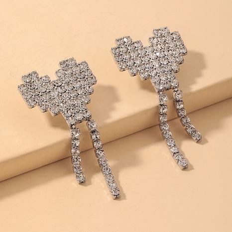 wholesale full rhinestone heart tassel earrings Nihaojewelry NHNJ393046's discount tags