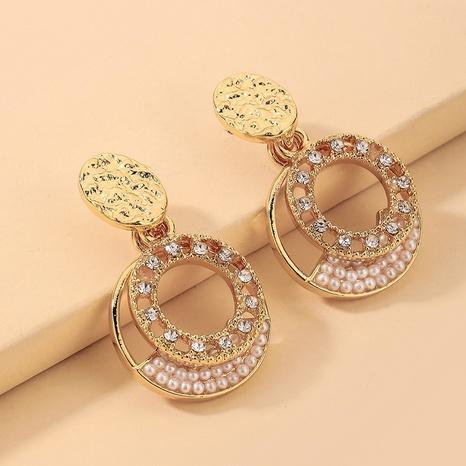 wholesale baroque rhinestone pearl hollow circle earrings Nihaojewelry NHNJ393047's discount tags