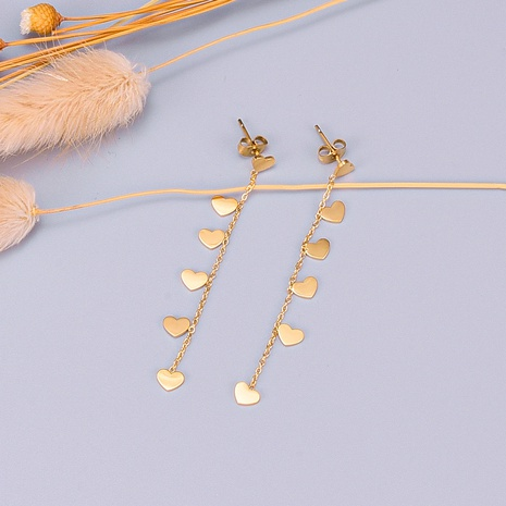 wholesale heart leaf tassel pendant long titanium steel earrings Nihaojewelry NHAB393110's discount tags