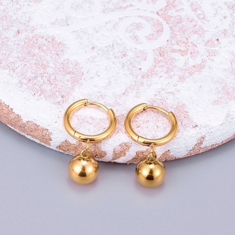 Wholesale Jewelry Round Bead Titanium Steel Gold Plated Earrings Nihaojewelry NHAB393114's discount tags