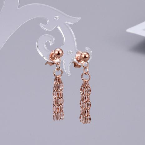 Wholesale Titanium Steel Gold Plated Bean Tassel Multilayer Earrings Nihaojewelry NHAB393116's discount tags