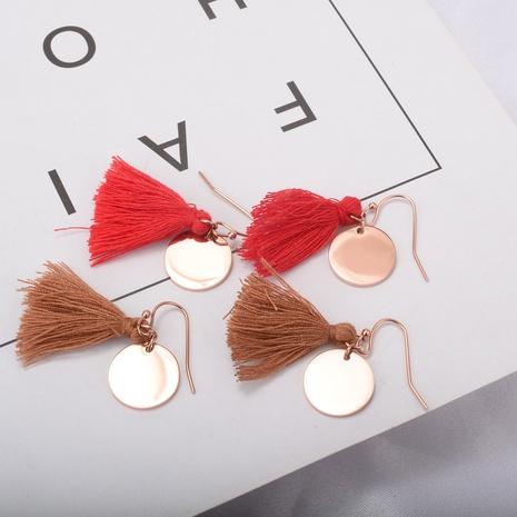wholesale tassel disc titanium steel earrings Nihaojewelry NHAB393120's discount tags
