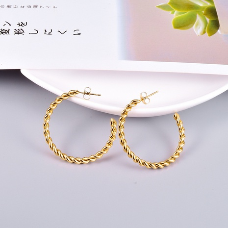 wholesale twist circle titanium steel gold plated earrings Nihaojewelry NHAB393121's discount tags