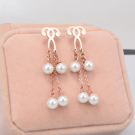 Double Question Mark Pearl Titanium Steel Earrings wholesale jewelry Nihaojewelry NHAB393128's discount tags