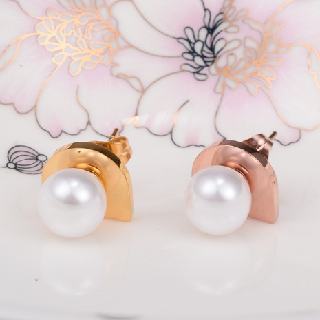 pearl simple titanium steel earrings wholesale jewelry Nihaojewelry NHAB393131's discount tags