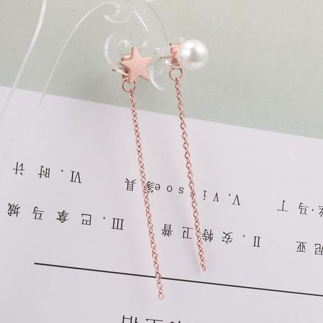 irregular pearl five-pointed star tassel long titanium steel earrings wholesale jewelry Nihaojewelry NHAB393161's discount tags