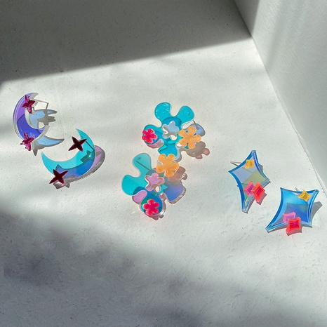 wholesale star moon flower-shaped acrylic earrings Nihaojewelry NHWB393289's discount tags