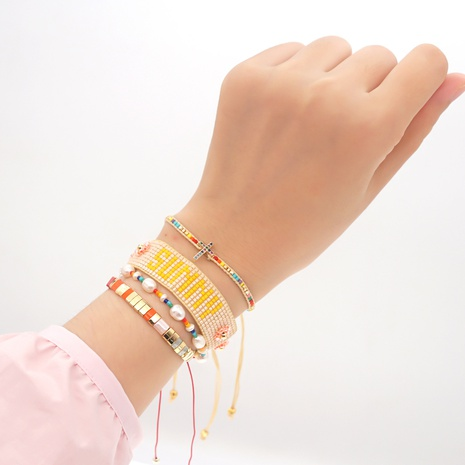 woven SUNNY letters pearl ethnic style Miyuki beads bracelet set wholesale jewelry Nihaojewelry NHGW393449's discount tags