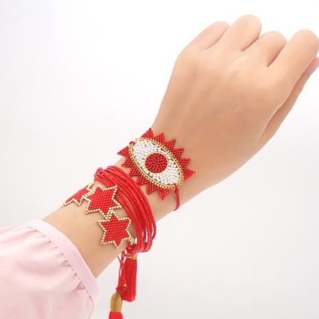 woven Demon Eye Tassel Miyuki Beads Multilayer Bracelet wholesale jewelry Nihaojewelry NHGW393450's discount tags