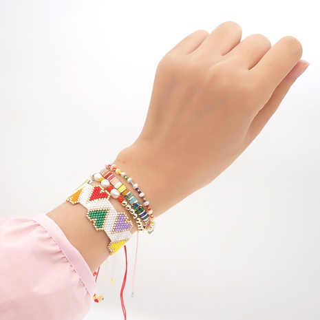 woven heart rainbow pearl bohemian style Miyuki bead bracelet wholesale jewelry Nihaojewelry NHGW393452's discount tags