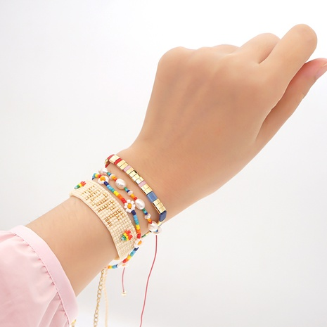 Letter Daisy Pearl Miyuki Bead Bracelet wholesale jewelry Nihaojewelry NHGW393453's discount tags
