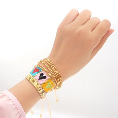 rivets Miyuki beads hand-woven heart ethnic style multi-layer bracelet wholesale jewelry Nihaojewelry NHGW393454's discount tags