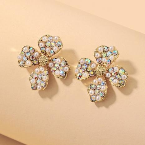 wholesale colorful pearl inlaid rhinestone flower earrings Nihaojewelry NHNJ393604's discount tags