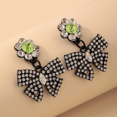 wholesale inlaid rhinestone flower bow earrings Nihaojewelry NHNJ393606's discount tags