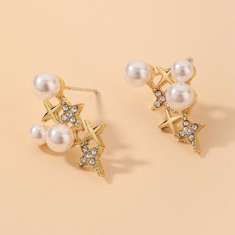wholesale accessories simple pearl inlaid with rhinestone star earrings Nihaojewelry NHNJ393608's discount tags