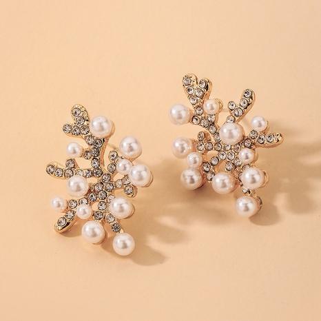 wholesale inlaid rhinestone pearl coral earrings Nihaojewelry NHNJ393609's discount tags