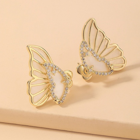 wholesale fashion gold electroplating rhinestone shell butterfly stud earrings Nihaojewelry  NHNJ393613's discount tags