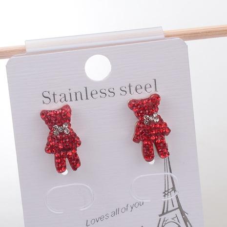 Wholesale Titanium Steel Cartoon Bear Full Rhinestone Stud Earrings Nihaojewelry NHAB393666's discount tags