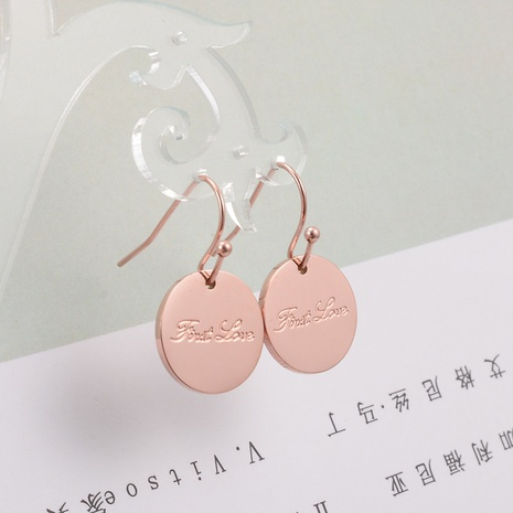 wholesale gold plated geometric round titanium steel earrings Nihaojewelry NHAB393670's discount tags
