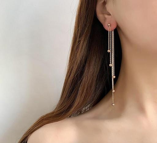 Großhandel Knoten Kette Multi-Stahl Kugel Quaste Titan Stahl Ohrringe Nihaojewelry NHAB393671's discount tags