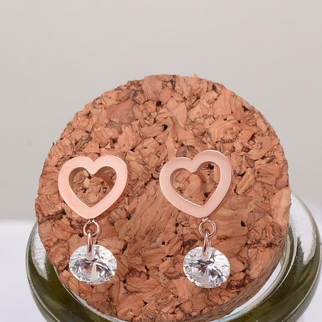 wholesale hollow heart-shaped titanium steel earrings Nihaojewelry NHAB393672's discount tags
