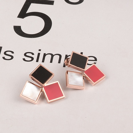 three-color black and white red titanium steel square earrings wholesale jewelry Nihaojewelry NHAB393673's discount tags