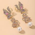 NHNJ1824240-Silver-Post-Golden-Butterfly-Earrings