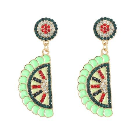 green watermelon lemon fruit alloy diamond-studded earrings wholesale jewelry Nihaojewelry NHJQ393747's discount tags