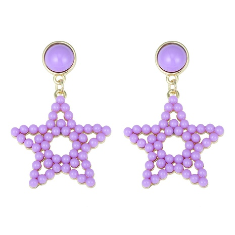 hollow rice bead five-pointed star Korean Style earrings wholesale jewelry Nihaojewelry NHJQ393749's discount tags