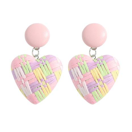 color raffia woven peach heart earrings wholesale jewelry Nihaojewelry NHJQ393752's discount tags