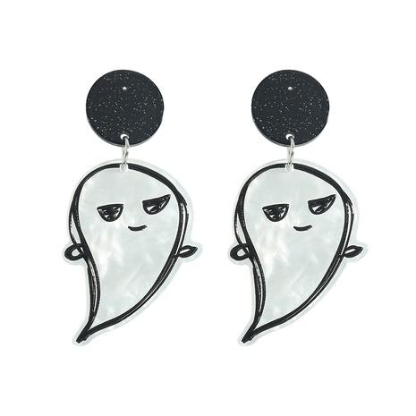 Pendientes lindos fantasma de graffiti en blanco y negro de Halloween joyería al por mayor NHJQ393754's discount tags