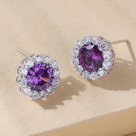 wholesale Korean style geometric copper inlaid zircon stud earrings Nihaojewelry  NHPS400814's discount tags