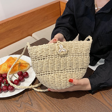 wholesale braided straw bucket messenger bag Nihaojewelry NHJZ377801's discount tags