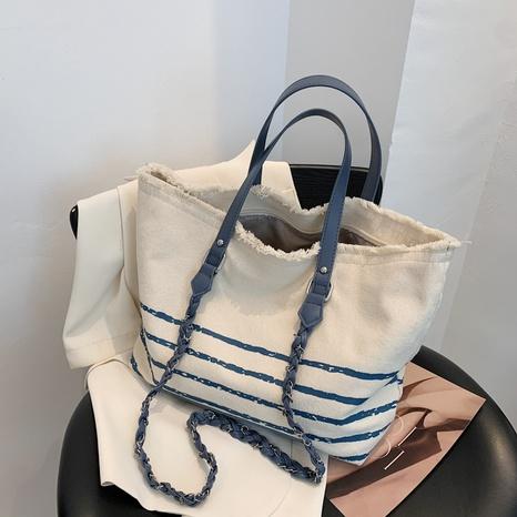 Großhandelszubehör marineblaue horizontale Streifen Canvas Tasche Nihaojewelry NHJZ377851's discount tags