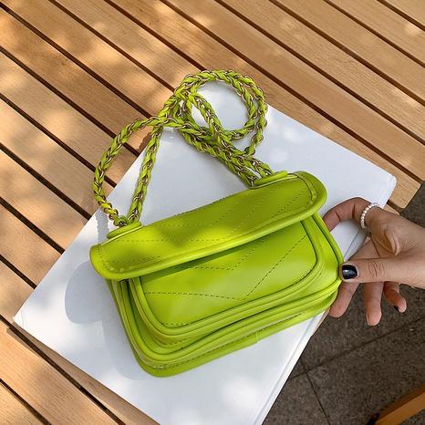 vente en gros sac de messager carré en chaîne en métal de couleur unie Nihaojewelry NHAV378034's discount tags