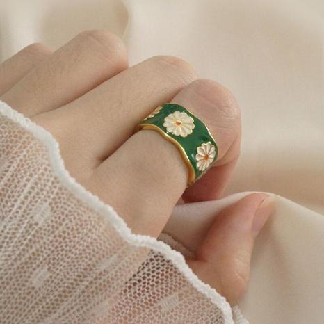 wholesale jewelry retro enamel glaze small daisy ring Nihaojewelry NHGY378696's discount tags