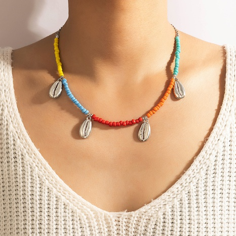 Nihaojewelry Bohemian style shell pendant colorful rice bead necklace Wholesale jewelry NHGY378687's discount tags