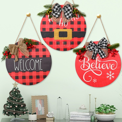 Commerce de gros Noël Red Bow Plaid Doorplate Décoration Nihaojewelry NHHB394492's discount tags