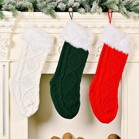wholesale Décoration de chaussettes tricotées blanches à bords bruts de Noël Nihaojewelry NHHB394502's discount tags